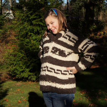 1970's Cowichan Sweater Cardigan Whale Design