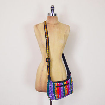 Vintage 90s 70s Mexican Purse Ethnic Purse Stripe Woven Blanket Hobo Bag Shoulder Bag Cross Body Crossbody 70s Purse Hippie Purse Boho Purse