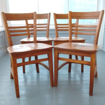 Kitchen Chairs, Dining Chairs, Set of Four, Buckstaff, Co, Oshkosh, WI, Vintage,  Bentwood, Solid Oak, Ladder Back, Mid Century, Art Deco