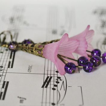 Fluted Floral Earrings in Pale Violet - Handmade Crafts by Solo Artworks