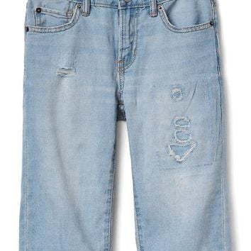 Stretch destructed denim three-quarter shorts | Gap