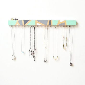 Wall Jewelry Organizer - Wall Jewelry Holder - Necklace Holder - Modern - Wood Decor - Mint - Wood Jewelry Hanger - Necklace Storage