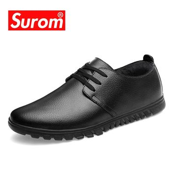SUROM Men's Winter Casual Shoes With Lace up Black brown Color Antiskid Sole Warm Plush Winter's Business Dress Shoes