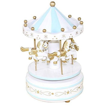 Soledi New Vintage Blue Wooden Merry-Go-Round Carousel Classic Music Box Kids...