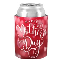 Modern Red White Hearts Happy Mother`s Day Can Cooler