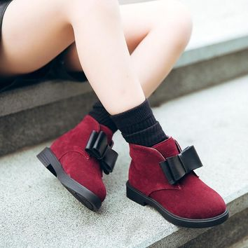 JGSHOWKITO 2018 Autumn Winter Children Shoes PU Flock Leather Ankle Boots Kids Warm Boots Girls Fashion Bow-tie Shoes Size 27-37