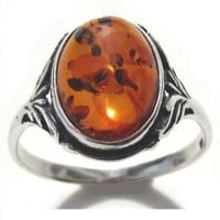 Sterling Silver Baltic Amber Oval Classic Ring: Jewelry: Amazon.com