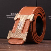Hermès Unisex Fashion Personality Metal Needle Buckle PU Waistband