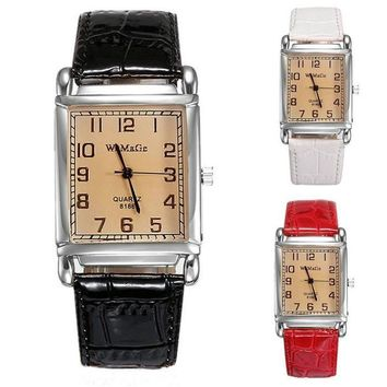 Ms Students Watch Quartz Watch Leather Strap Alloy Rectangular Dial Watch