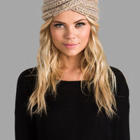 Eugenia Kim Lula Metallic Turban Headband in Oatmeal