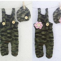Army set / Newborn Photo Prop / Newborn overall, baby boy, baby girl / Knit baby Pants / Suspender pants /