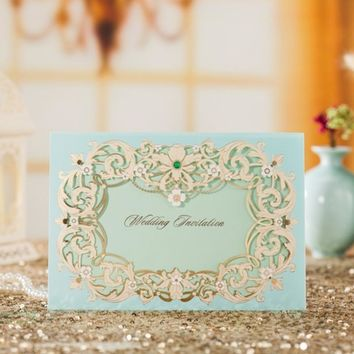 (10 pieces/lot) Wishmade Laser Cut Window Wedding Invitation Card Light Blue Flowers Invitation Cards For Engagement CW7023