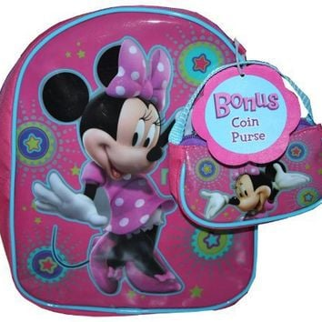 Disney Minnie Mouse 10 Toddler Backpack Bonus Coin Purse
