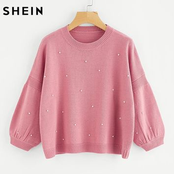 SHEIN Pink Pearl Beading Puff Sleeve Jumper Autumn Womens Pullover Sweaters Crew Neck Three Quarter Length Sleeve Sweater