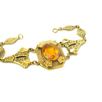 Gold Filled Victorian Bracelet. Large Topaz or Citrine Glass Jewel. Floral Vine Links. Antique Revival Style. Vintage Fashion Jewelry