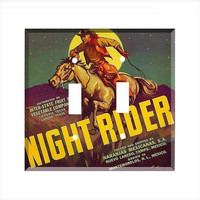 Double Light Switch Cover - Light Switch Plate Vintage Crate Label Cowboy Night Rider Horse
