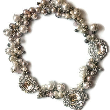 Pearl cluster necklace, vintage pearl choker, crystal bib necklace, bridal pearl necklace, crystal statement necklace, rhinestone choker