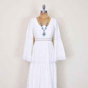 Vintage 70s White Mexican Wedding Dress Sheer Lace Eyelet Embroider Tier Bell Sleeve Angel Sleeve Maxi Dress 70s Hippie Dress Boho Dress XS