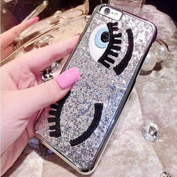 Blinking Eyes Sequins 3D iPhone Case