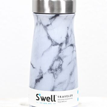 S'well Bottle: White Marble Traveler Collection {16 oz}