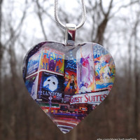 Broadway glass pendant necklace  - NYC & Times Square heart jewelry - Gift for the theatre lover