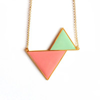 Twin Triangle Necklace - Pastel Green & Pink