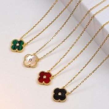 Four-leaf Clover With Diamonds Clavicle Necklace