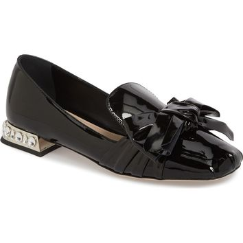 Miu Miu Embellished Heel Bow Loafer (Women) | Nordstrom