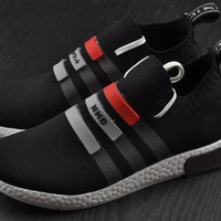Best Online Sale Adidas Original Mega Boost NMD Omega Black Sport Running Shoes Classic Casual Shoes Sneakers