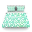 """Pom Graphic Design """"Ancient Tribe"""" Seafoam Featherweight Duvet Cover"""
