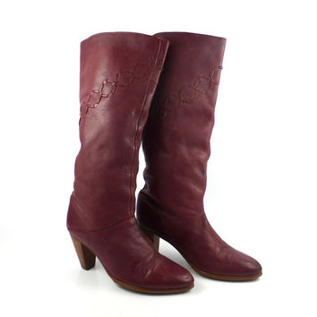 Frye Boots  Vintage 1980s Stacked Heel  Burgundy Leather Women's size 9