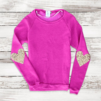 Be My Valentine Boat Neck Sweatshirt Sequin Heart Elbow Patch Jumper
