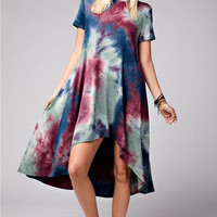 High Low Tie Dye Shirt Dress (preorder)*