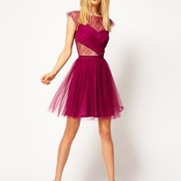 ASOS Skater Dress with Cobweb Lace at asos.com
