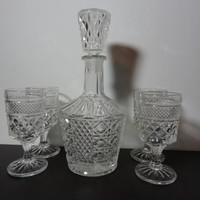 Vintage Clear Glass Liquor or Wine Decanter with Set of 4 Wine or Liquor Stemmed Glasses with Cut Diamond Pattern