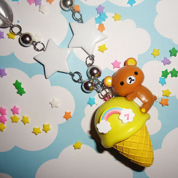 YELLOW BANANA Rilakkuma Rainbow Ice Cream Scoop Waffle Cone Star Necklace