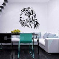 Wall Decal Lion Animals Jungle Safari African Wild Cat Predator Wildcat Childrens Decor Kids Vinyl Sticker Wall Decals Nursery Bedroom Murals Playroom Art (6093)