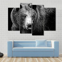 Black And White Portrait Of An Imposing Bear Canvas
