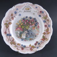 Brambly Hedge Plate Autumn Royal Doulton Brass Hanger
