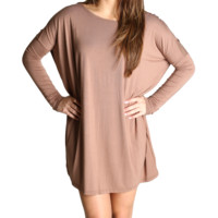 Mocha Piko Tunic Long Sleeve Dress