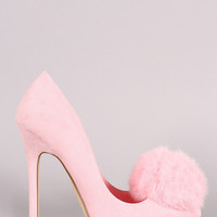 Faux Fur Pom Pom Suede Pointy Toe Stiletto Pump