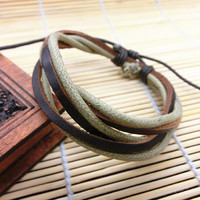 Jewelry Bangle bracelet women Leather Bracelet Girl Ropes Bracelet Men Leather Bracelet K16