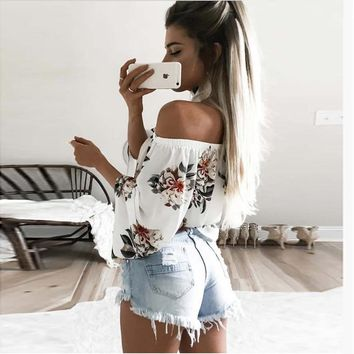 Santune  Off Shoulder Chiffon t Shirt Women Sexy Summer White Print tops Casual Flare Sleeve Cool clothes