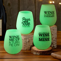 Stemless Wine Glass Set Flexible Glow in the Dark Silicone Fun Phrases 14 oz NEW