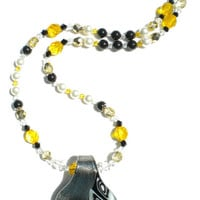 Yellow, Black and White Swarovski Pearl and Crystal Necklace