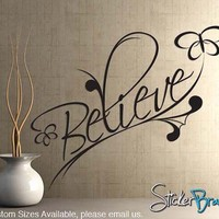 Vinyl Wall Decal Believe Spiritual Phrase BHuey116 custom 30x60 | stickerbrand - Housewares on ArtFire