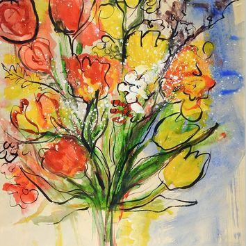 Abstract Floral Watercolor Still Life Painting