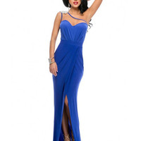 Blue One Shoulder Cutout Ruched Spliced Maxi Dress With Slit