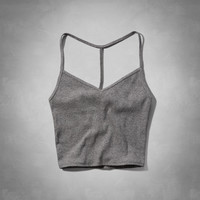 Ribbed T-Back Cropped Cami