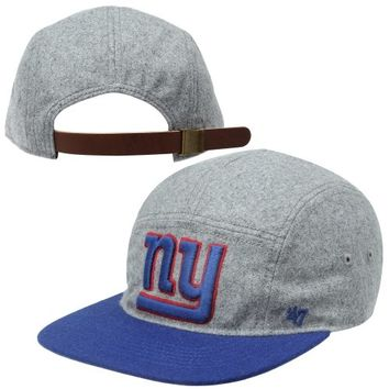 '47 Brand New York Giants Melton 5-Panel Wool Strapback Hat - Ash/Royal Blue